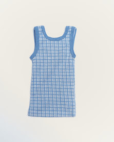 Camille Pringle Print Sleeveless Top Blue