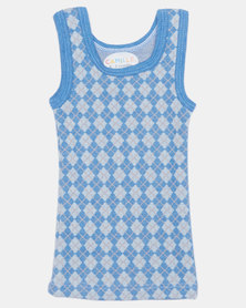 Camille Geometric Print Sleeveless Top Blue