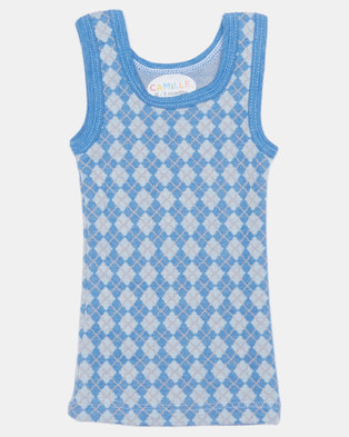 Camille Geometric Print Sleeveless Top Blue