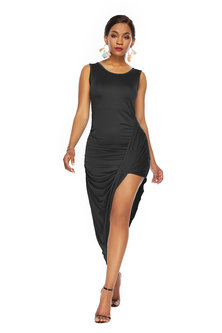 JAVING Sleeveless Ruched Asymmetrical  Hem Dress - black