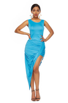 JAVING Sleeveless Ruched Asymmetrical  Hem Dress - turquoise