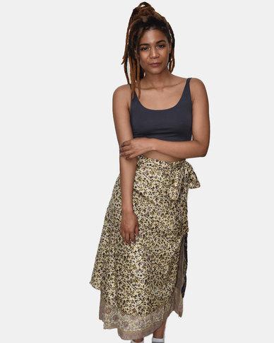 SKA Silk Sari Skirt Gold and Blue