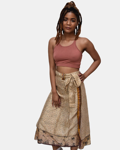 SKA Silk Sari Skirt Mustard