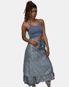 SKA Silk Sari Skirt Blue