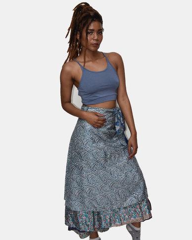 SKA Silk Sari Skirt Blue