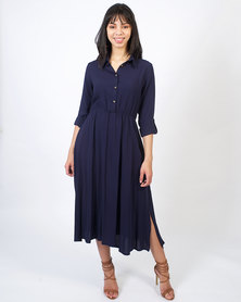non-european® Ladies Shirt Dress Navy