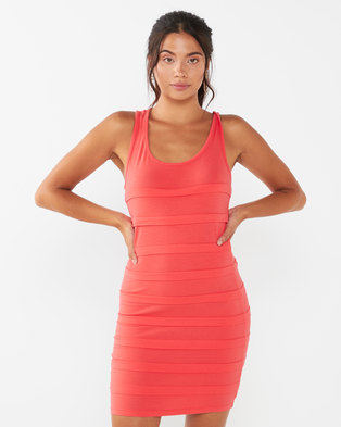 Utopia Ruffle Bodycon Dress Coral