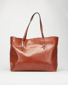 Utopia Leatherlike Shopper Bag Tan