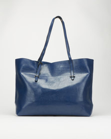 Utopia Leatherlike Shopper Bag Navy