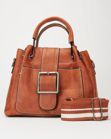 Utopia Front Buckle and Strap Satchel Tan