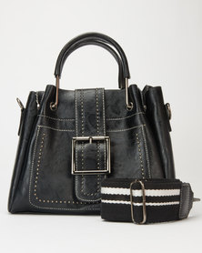 Utopia Front Buckle and Strap Satchel Black