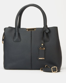 Utopia Plain Double Handle Tote Black