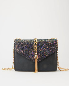 Utopia Sequin Flap Evening Bag Black