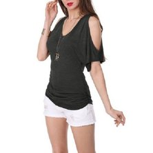 JAVING Cold Shoulder Side Ruched V-neckTop - black