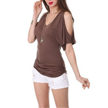 JAVING Cold Shoulder Side Ruched V-neckTop - choc