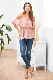 JAVING Cold Shoulder Ruffle Trim Elastic Waist Peplum Top - pink