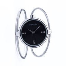 Skyla Jewels Ladies Dual Strand Bangle Watch in Silver with Black Dial