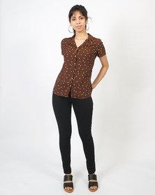 non-european® Chiffon Shirt Chocolate Polkadot
