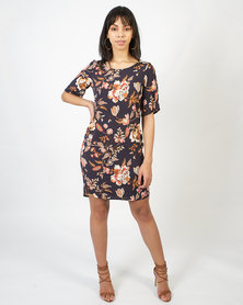 non-european® Trendy Tee Dress Navy Botanical Print