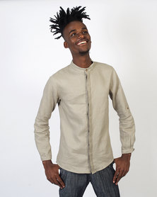 non-european® Concealed Stand Linen Shirt Ash