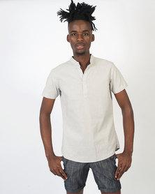 non-european® Mandarin Shirt Grey Stripe