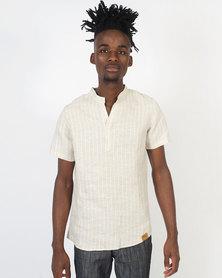 non-european® Mandarin Shirt Beige Stripe