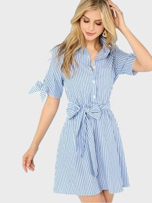 Elite Occasions Button Up Knot Collar Striped Dress