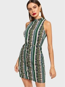 Elite Occasions Allover Print Waist Belted Dress