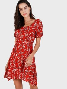 Elite Occasions Floral Square Neck Dress
