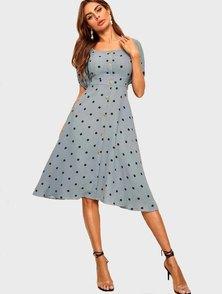Elite Occasions Polka Dot Square Neck Dress