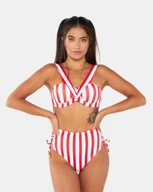 Bikini Avenue Red and White Off Shoulder High Waist Bikini