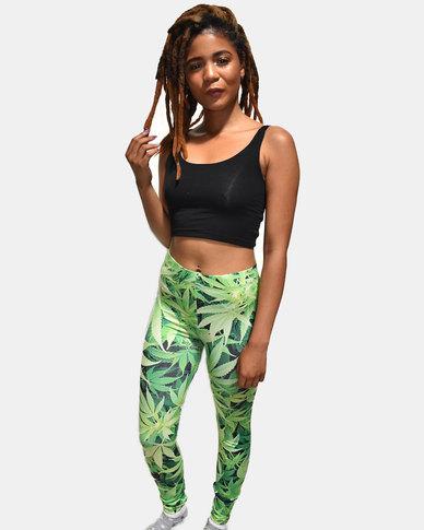 SKA Full Leaves Print Legging Green