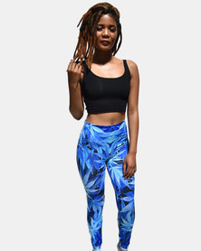 SKA Full Leaves Print Legging Blue