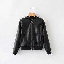 JAVING Zip Up Mock Leather Bomber Jacket - black