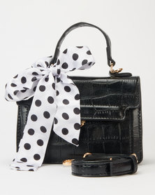 Utopia Polka Dot Scarf Crossbody Black