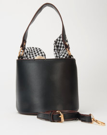 Utopia Round Structured Crossbody With Gingham Scarf Black