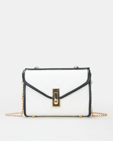 Utopia Contrast Piping Quilted Bag White