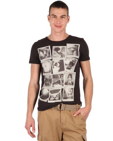 e7f3fb64d88d97 Superfly   Co Polaroid Short Sleeve Photographic Print T-Shirt Black ...