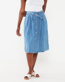 Levi's ® Button Flare Skirt Light Indigo