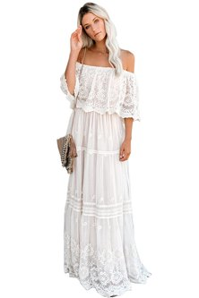 Princess Lola Boutique - Wild At Heart Lace Maxi Dress - White