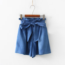 JAVING Ruffle Waist Wide Leg Paperbag Denim Shorts - mid blue wash