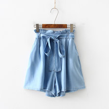 JAVING Ruffle Waist Wide Leg Paperbag Denim Shorts - light blue wash
