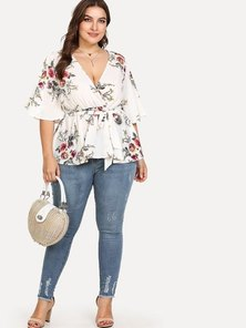 JAVING Plus Size Floral Print Belted Flounce Trim Wrap Top - white-dk pink