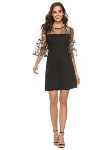floral embroidery mesh yoke and sleeve dress-black
