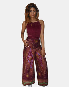 SKA Peacock Print Open Pants Maroon