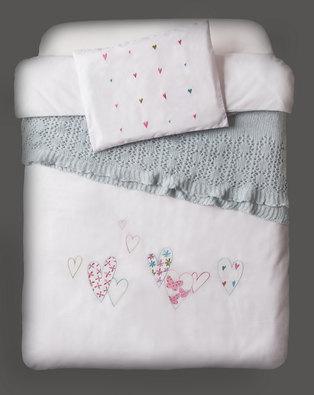 Bella Linen Baby Cot Set White