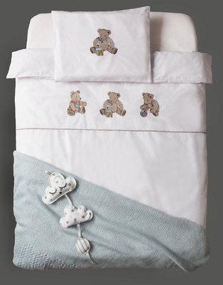 Bella Linen Teddies Cot Set White