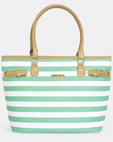 Maria Turquoise and White Stripe Shopper Handbag