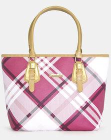Dafne Pink and White Checked Handbag