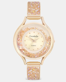Cazabella Rose Gold Watch Embellished With Rose Crystals